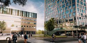 Klövern AB planerar projektet Örebro Entré intill centralstation.  I en första etapp blir det ett hus på 14 våningar med kontor och Scandic hotell med 160 rum. Peab har fått uppdraget att bygga. Skiss: Archus Arkitektur.