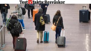 En resväska måste klara tuffa tag. Vi har testat sju olika resväskor.Bild: Fredrik Sandberg/TT