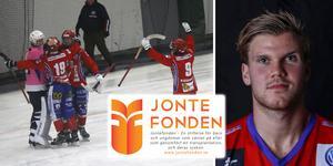 Elias Modin i Kungälvs A-lag berättar om klubbens engagemang för Jontefonden. Bild: Kungälv.