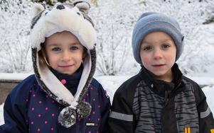 """Ronja Öberg, 5, Nykvarn: """"Jag önskar mig en stor Rapunzeldocka som man kan sminka."""" Viggo Öberg, 5, Nykvarn: """"Jag vill ha Spiderman-tv-spel."""""""