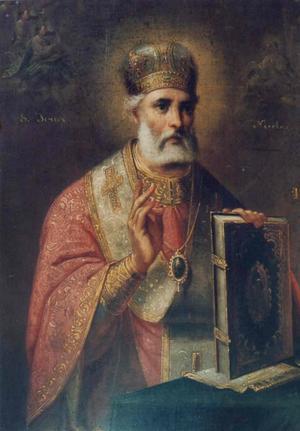 Ärkebiskopen och helgonet Nikolaus av Myra är jultomtens ursprung. Målning av Gheorghe Tattarescu.