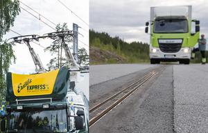 På bilderna ses två olika system för elförsörjning till vägtransporter. Till vänster via luftledning,  till höger via elspår i vägbanan. Bilder: Pontus Lundahl (th) och Jessica Gow/TT