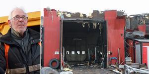 Hela övervåningen i verkstadslokalen i Årsunda förstördes av branden.  Lars-Ivar Sjöberg jobbar på åkeriet och lyckades få ut en lastbil ur lågorna.