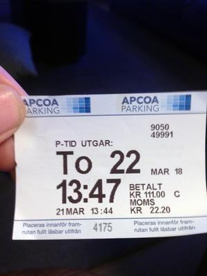 Bilden på biljetten mejlade Tommy Nordin in till Apcoa som bevis.