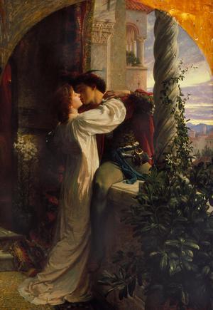 Romeo  och Julia älskade så högt att  de hellre dog än att vara utan kärleken. Målning av Frank Dicksee från 1884.
