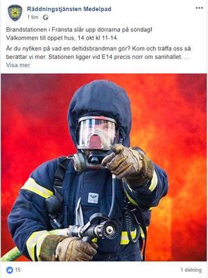 Skärmdump från Räddningstjänsten Medelpads Facebooksida.