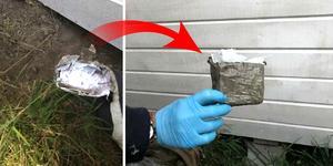 Polisen hittade ett halvt paket med omkring 250 gram hasch under en terrass på en adress som kopplas till den misstänkte ledaren. Den andra halvan av paketet hittades tom hos en kvinna som mannen haft kontakt med. Bild: Polisen