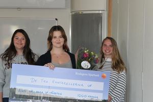 De tre kantarellerna vann priset som årets hållbara UF-företag.