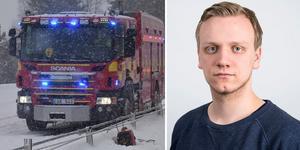 Viktor Holmström, sportreporter på Allehanda, var på väg till Sundsvall när olyckan var framme.
