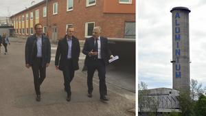 Kommunalrådet Peder Björk (S), Näringslivsministern Mikael Damberg (S) och Javier Navia vd på Kubal.