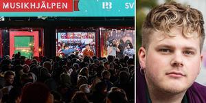Vänster: Musikhjälpen i Lund förra året. Höger: Simon Rosenqvist, huvudproducent för Musikhjälpen. Foto: Mattias Ahlm/Sveriges Radio