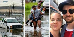 Stora delar av New Orleans hamnade under vatten under onsdagen. Cecilia Andersson och hennes sambo David Simic har lyckats ta sig från staden. Foto: TT/Privat.