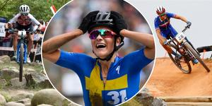 Från vänster: Jolanda Neff, Jenny Rissveds och Pauline Ferrand-Prévot. Foto: AP Photo/TT
