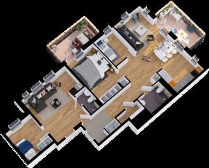 Exempel planlösning generationsboende med ett rum, badrum och pentry i lägenheten till vänster och två rum och kök, badrum samt två balkonger till höger. Illustration: Telge bostäder