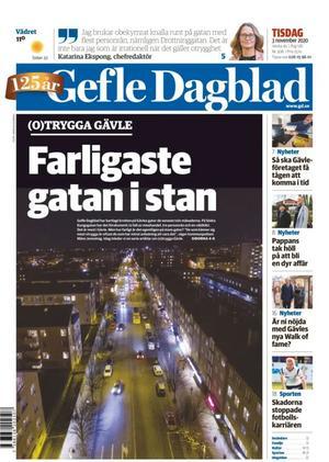 Gefle Dagblads förstasida när vi startade artikelserien (O)trygga Gävle hösten 2020 där vi  bland annat kartlade var flest rån, misshandlar och våldtäkter ägt rum i utomhusmiljö.