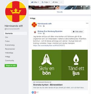 Biskopen i Härnösands stift ber för de drabbade ungodmarna i den svåra olyckan i Kramfors i lördags kväll. Skärmdump.
