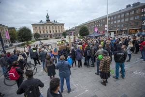 Rätten att demonstrera tas kanske för givet i Sverige, men det ser annorlunda ut på många håll i värden. Bild från klimatdemonstration i Gävle. Arkivbild.