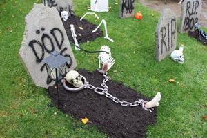 Merethe och Ulf jobbar tillsammans för att fixa en ryslig halloween i Bomhus.