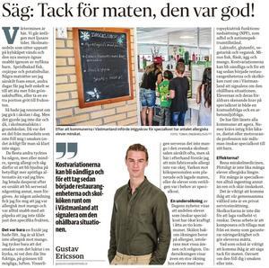 Gustav Ericssons ledare fick Kristdemokraterna att reagera. Ur SA 10/1.