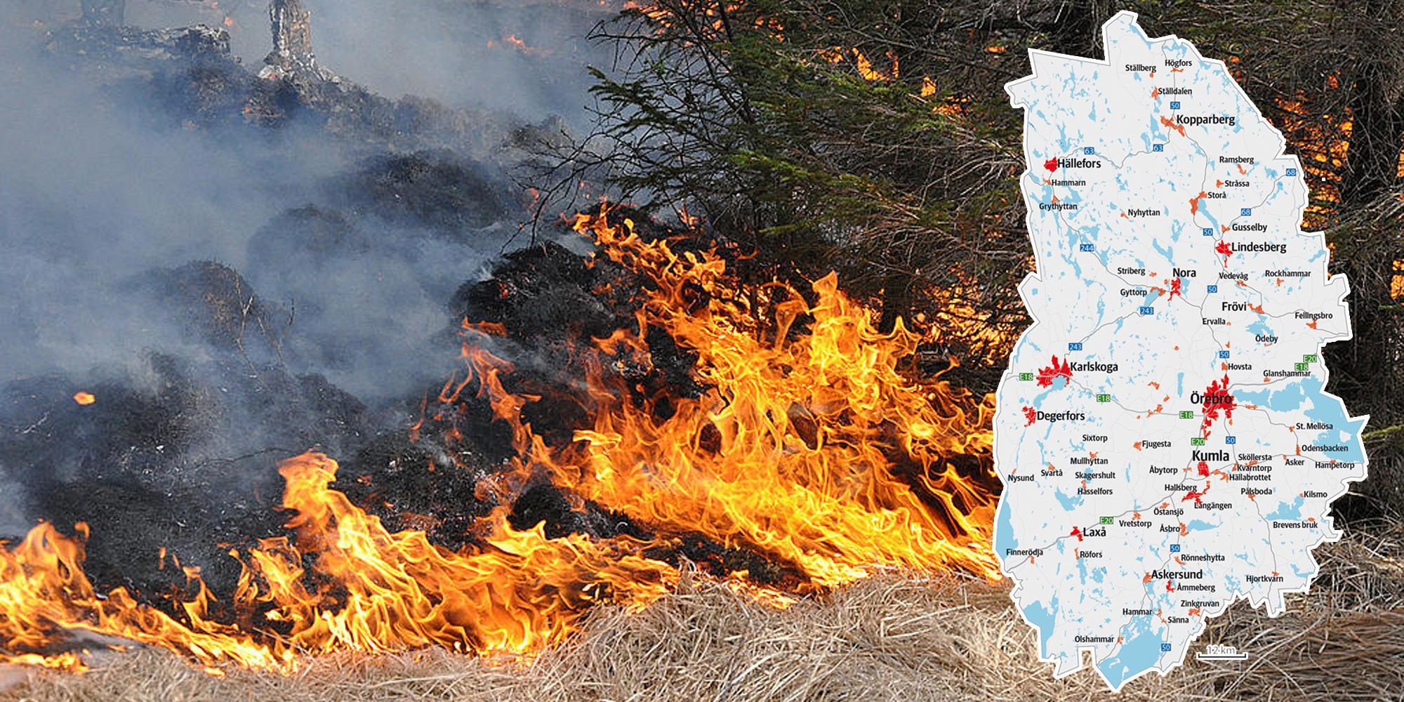 Det kommer vara fortsatt hög brandrisk i länet, enligt SMHI:s prognos. Genrebild: TT. Bilden är ett montage.