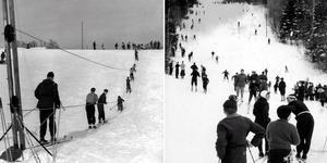 Åka utför blev mycket populärt i Kungsberget på 1930-talet. Bild: K. Lundquist/Okänd