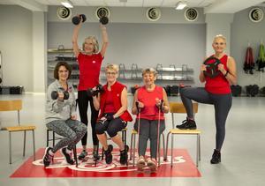 Friskis och svettis personal och instruktörer, Kicki Liliequist, Ann-Charlotte Svensson, Gertrud Dahl, Siv Engström och Marianne Estberger.