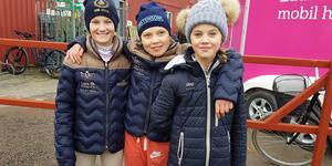 Nellie EK, Vilma Vestman och Svea Eriksson  Ståbis stod för strålande insatser i helgens SM. Foto: Privat