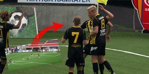 Bilden är ett montage och illustrerar Herman Johanssons kanonträff och målfirande efter 2–2-målet. Foto: Niclas Åkerström.