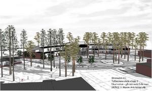 Mellanstadiedelen på Tallbackens skola byggs som en förlängning av lågstadiet. Illustration: Maxim arkitekter.