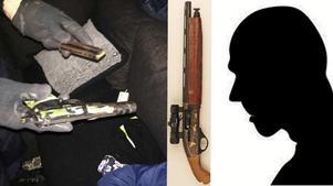 Den 32-årige mannen har flera gånger dömts för grovt vapenbrott. Bilderna kommer från polisens förundersökning från 2016 där mannen dömdes  för att ha innehaft ett avsågat hagelgevär och en skjutklar pistol.