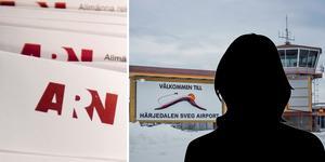 Kvinnan anmäler flygbolaget efter att hennes bagaget blivit förstört under en flygresa till Sveg. Fotomontage: TT/Jenny Nars