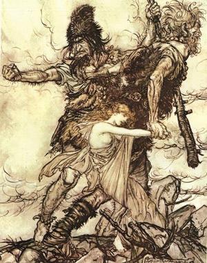 Jättar rövar bort gudinnan Freja. Målning av Arthur Rackham från 1910.