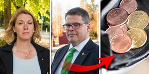 Ulrika Spårebo (S) och Anders Wigelsbo (C) riktar skarp kritik mot varandra. Kollage: Julia Engström