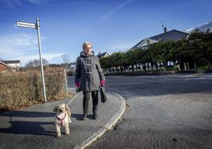 - Skönt att det äntligen snart är över, det tycker vi nog alla, säger Maggan Nordengren, här på promenad med hunden Sudden.