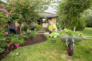 Lennart Nyblom är en av pensionärerna som arbetar för Veterankraft i Örebro, här med trädgårdsarbete åt en kund.