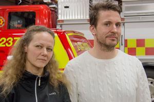 Malin Andersson och Michael Wickström är båda deltidsbrandmän i Arboga och får båda sänkt ersättning med det nya avtalet.