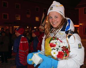 Hemma i Malung efter sprintguld och stafett-silver i JVM 2012.