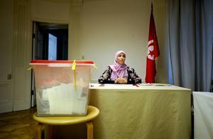 Vallokalen på den Tunisiska ambassaden i Stockholm.