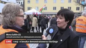 Mona Sahlin på plats i Borlänge.