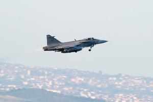 Svenska JAS 39C Gripen lyfte från Sigonellabasen på Sicilien på torsdagen.