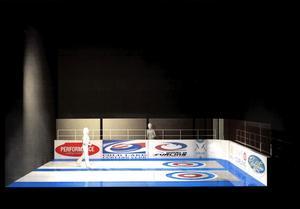 En curlingrink byggs upp för dansföreställningen