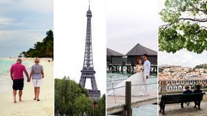 Runtom i världen finns flera romantiska resmål att välja mellan
