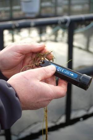 """Reidar Näslund visar en digital temperaturmätare som han fått av fiskekonsulenten i Vilhelmina kommun. Under ett år ska han mäta medeltemperaturen i Hotingssjön. Samma sak gör man i Vilhelmina, Åsele och Dorotea kommun. """"I Strömsund finns det ingen att vända sig till."""""""