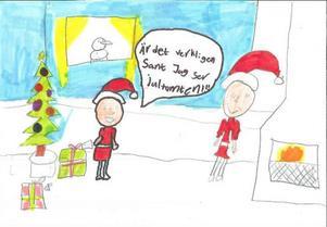 Nova från Östersund ger en hint om att hon skulle bli riktigt glad om Tomten dyker upp på julaftonFoto: Teckning