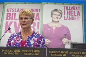 Gladare på affischen. Centerpartiets partiledare Maud Olofsson presenterade valaffischerna vid en pressträff i Stockholm.foto: SCANPIX