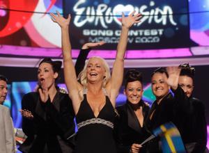 Malena Ernman efter uppträdandet i semifinalen i Eurovision Song Contest i Moskva.