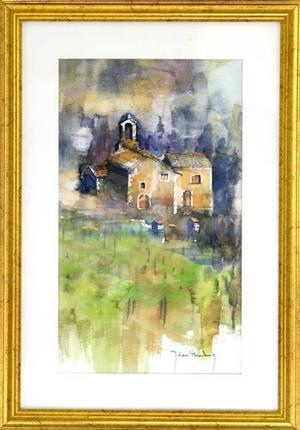 """""""Kyrkan i Ligurien"""". Ett friare måleri."""