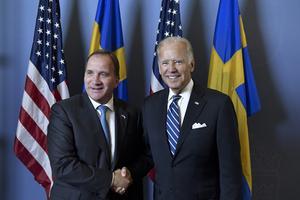 Kompisar. Vicepresident Joe Biden och statsminister Stefan Löfven (S). Foto: Anders Wiklund/TT
