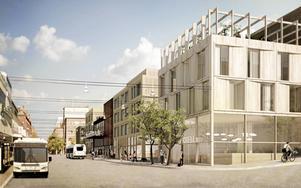 I förslaget från Kjellander & Sjöberg ligger hotellet nere vid Kyrkgatan. Längre bort på Kyrkgatan finns det nya biblioteket och en konserthall.