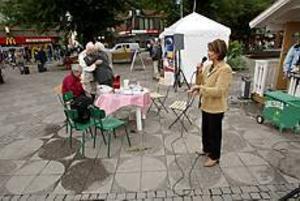 Foto: LARS WIGERT Tomt framför nej. Trots att Nej-sidan har opinionsundersökningarna med sig var det få som ville lyssna till Inger Schörling, mp.